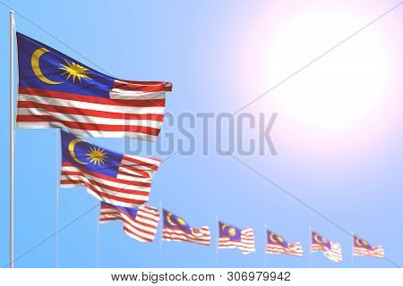 Beautiful Labor Day Flag 3d Illustration  - Many Malaysia Flags Placed Diagonal With Selective Focus