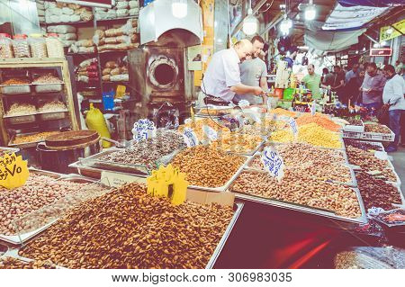 Amman, Jordan - May 18, 2019: Spices, Nuts And Sweets Shop On The Market In Amman Downtown, Jordan.