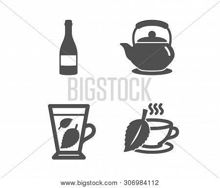 Set Of Teapot, Champagne Bottle And Mint Leaves Icons. Mint Tea Sign. Tea Kettle, Anniversary Alcoho