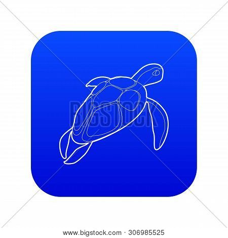 Turtle Icon Blue Vector Isolated On White Background