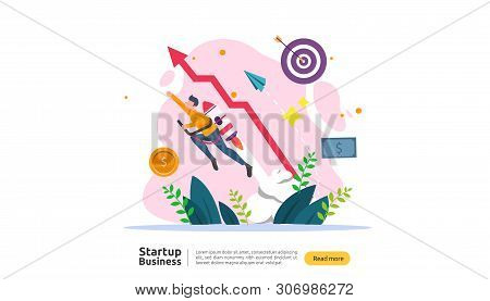 Start Up Idea Concept. Project Business With Rocket Tiny People Character. New Product Or Service La