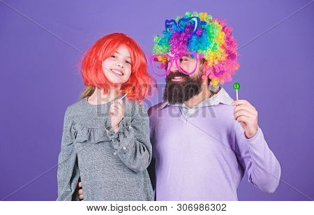 Having The Best Day Ever. Happy Birthday. Father And Daughter In Party Style Wigs. Happy Family Cele