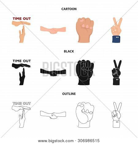 Vector Design Of Animated And Thumb Logo. Set Of Animated And Gesture Vector Icon For Stock.