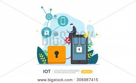 Iot Smart House Monitoring Concept For Industrial 4.0. Home Remote Lock Technology On Smartphone Scr