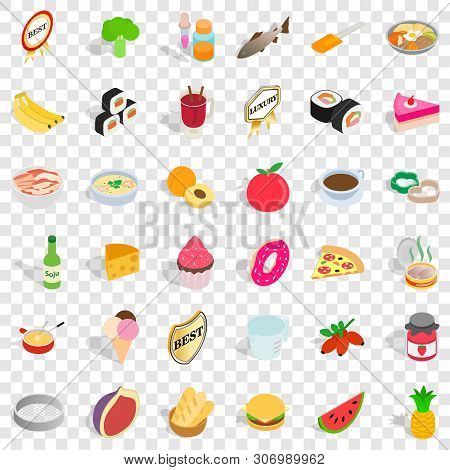 Bakehouse Icons Set. Isometric Style Of 36 Bakehouse Vector Icons For Web For Any Design