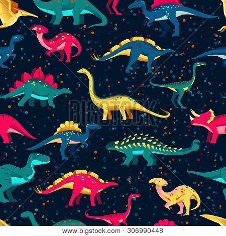 Colorful Cute Dinosaurs On Black Background. Vector Seamless Pattern. Fun Textile Cartoon Kids Print