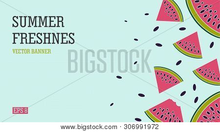 Bright And Juicy Summer Banner With Watermelons. Beach-themed Holiday And A Refreshing Watermelon