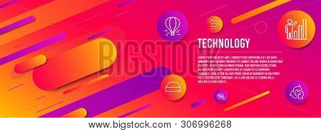 Header banner. Graph chart, Undo and Air balloon icons simple set. Mini pc, Quick tips and Recycle signs. Growth report, Left turn. Technology set. Line graph chart icon. Gradient elements. Vector poster