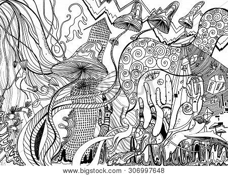 Psychedelic Art With Mushrooms, Ufo, Cacti, Houses, Animals And Swirls. Abstract Poster Design. Surr
