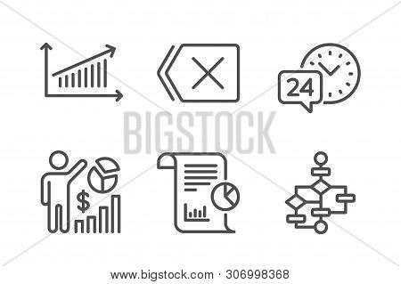 Seo Statistics, Chart And Report Icons Simple Set. 24h Service, Remove And Block Diagram Signs. Anal