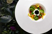 Stracciatella Di Bufala with Pickled in Olive Oil Tomatoes, Basil Marmalade and Cream. Exquisite Serving Restaurant Plate of Italian Pasta Filata Cheese Top View on Dark Leaves and Flowers Background poster