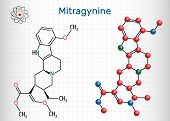 Mitragynine molecule. It is the herbal alkaloid with opiate-like properties produced by plant Mitragyna speciosa Korth, kratom. Structural chemical formula and molecule model. Sheet of paper in a cage. poster