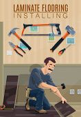 Builder, carpenter or joiner installing laminate flooring with work tools vector design. Cartoon man laying laminate panels with hammers, screwdriver and saw, pliers, tape measure and ruler poster