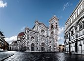 Duomo di Firenze Cathedral with the Baptistery of St.John in view, Florence, Italy, Europe, in front of white background poster