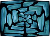 Blue lighted stained glass labyrinth window on white. poster