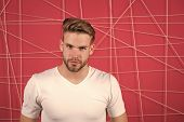 Simple hacks to make hairstyle better. Use right product styling hair. Confident with tidy hairstyle. Barber hairstyle tips. Man bearded guy modern hairstyle in pensive mood pink background. poster
