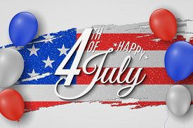 Happy Independence Day. Greeting Card For 4th Of July. Grunge Brush. Text Banner On Usa Flag Backgro