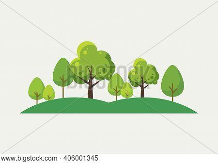 Trees Landscape Cartoon. Flat Style Design. Vector Illustration