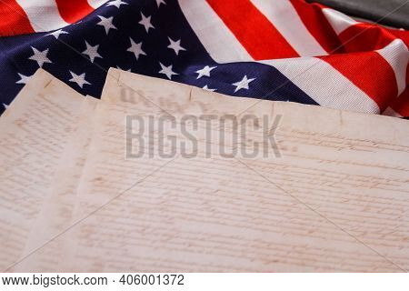 Flag Of The Usa And Papers With Text. United States Declaration Of Independence.