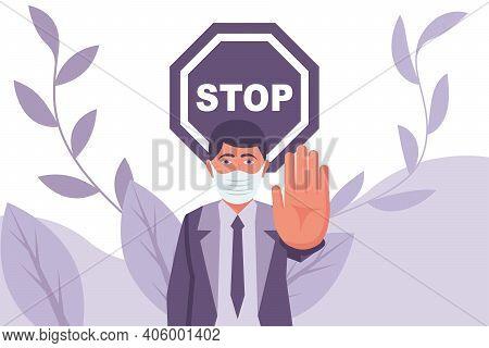 Human In Mask Makes Negative Hand Gesture. Precautions And Prevention Of Coronavirus Disease. Warnin