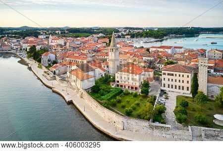 A Fragment Of The Old Town Embankment With The Cathedral. Porec, Croatia. Shooting From A Drone.