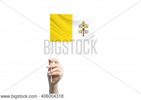 Beautiful Female Hand Holding Vatican Flag, Isolated On White Background