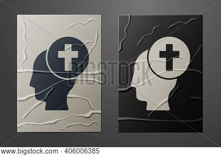 White Man Graves Funeral Sorrow Icon Isolated On Crumpled Paper Background. The Emotion Of Grief, Sa