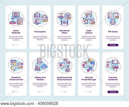 Online Teaching Onboarding Mobile App Page Screen With Concepts Set. Online Teaching Digital Resourc