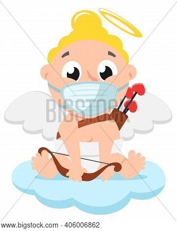 Cupid In A Medical Mask With A Bow Sits On A Cloud. Character, Valentines Day