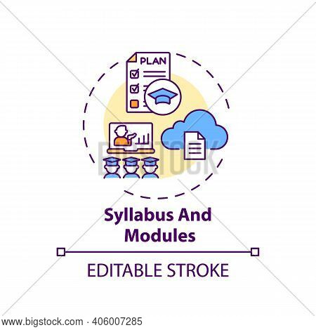 Syllabus And Modules Concept Icon. Online Course Management System Elements. Information About Teach