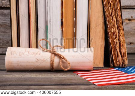 Scroll With Books And Usa Flag. Independence Declaration Concept.