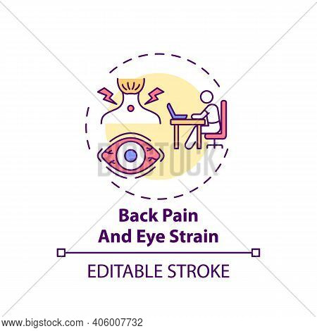 Back Pain And Eye Strain Concept Icon. Online English Teaching Challenges. Health Problems After Lon