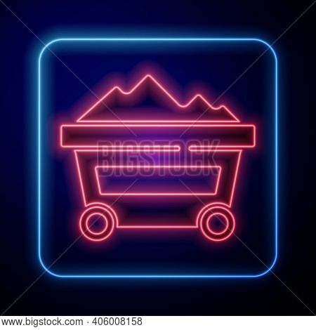 Glowing Neon Coal Mine Trolley Icon Isolated On Blue Background. Factory Coal Mine Trolley. Vector