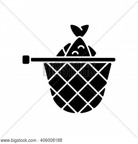 Landing Net Black Glyph Icon. Special Fishing Equipment. Seafood. Fish In Landing Net. Fishing Conte