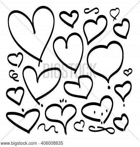 Heart Hand Drawn Vector Sketch Doodle Line. Love Heart Shape Handdrawn Icon