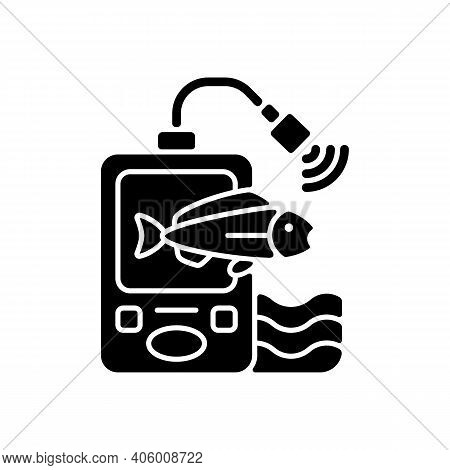 Fish Finder Black Glyph Icon. Fishers Equipment. Way To Find Fish. Efficient Fishing. Basic Fishing