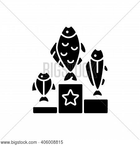 Fishing Tournament Black Glyph Icon. Sport Competition. Fishers Contest. Pedestal With Fish. Trophy