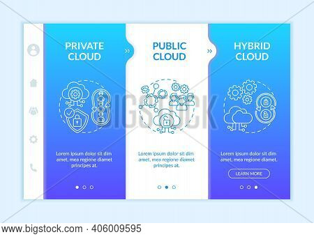 Software As Service Deployment Models Onboarding Vector Template. Private, Public, Hybrid Clouds. Re