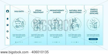 At-home Spa Routine Onboarding Vector Template. Steam Treatment. Natural Skin Brightening. Elbows Sk