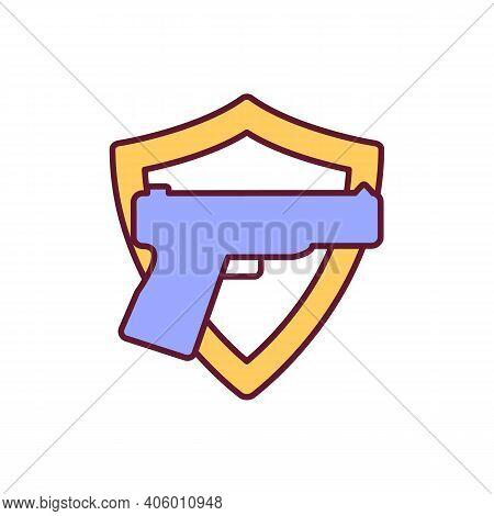 Gun For Sense Of Security Rgb Color Icon. Handgun Ownership For Protection. Permit For Gun. Guarding