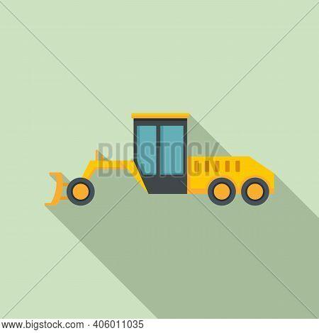 Grader Machine Utility Icon. Flat Illustration Of Grader Machine Utility Vector Icon For Web Design