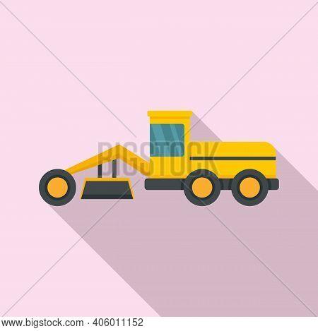 Grader Machine Building Icon. Flat Illustration Of Grader Machine Building Vector Icon For Web Desig