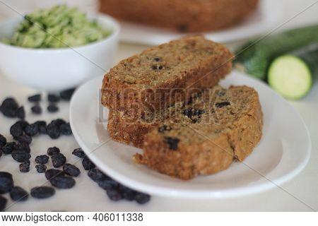 Homemade Zucchini Raisin Bread For Breakfast