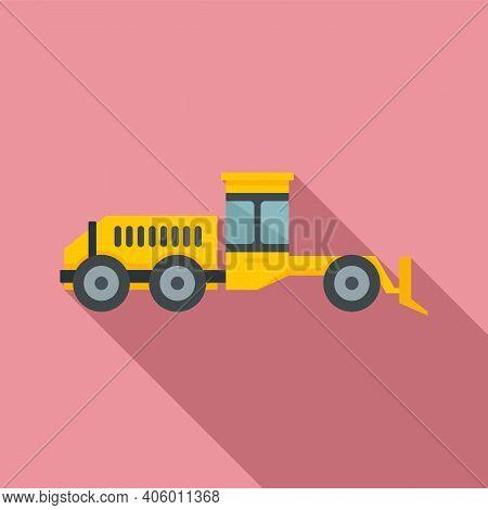 Grader Machine Hydraulic Icon. Flat Illustration Of Grader Machine Hydraulic Vector Icon For Web Des