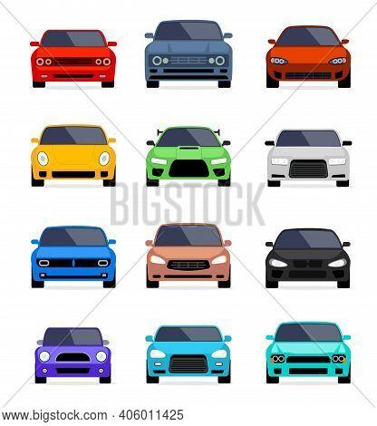 Car Front View Vector Flat Icon. Car Parking Cartoon Front Design Shape