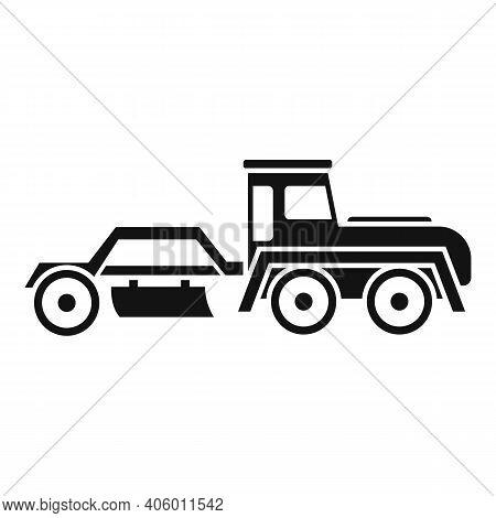 Grader Machine Tractor Icon. Simple Illustration Of Grader Machine Tractor Vector Icon For Web Desig