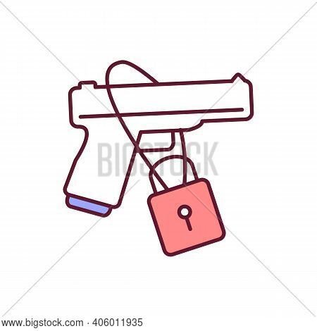 Guns Control Rgb Color Icon. Violence Prevention. Padlock For Security And Protection. Weapon Restri