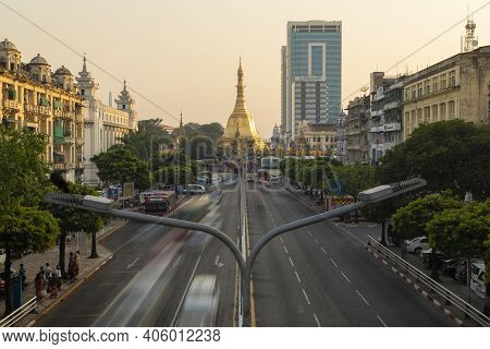 Yangon, Myanmar - December 19, 2019: General View Of Sule Pagoda Buddhist Temple And Stupa, Decorate