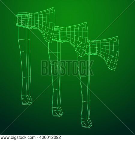 Wooden Hatchet Axe. Woodworking Or Lumberjack. Wireframe Low Poly Mesh Vector Illustration.