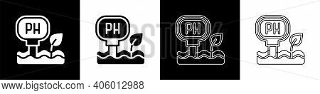 Set Soil Ph Testing Icon Isolated On Black And White Background. Ph Earth Test. Vector